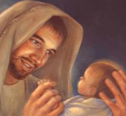 illustration of Joseph and baby Jesus