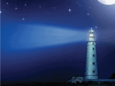 lighthouse at night with moon